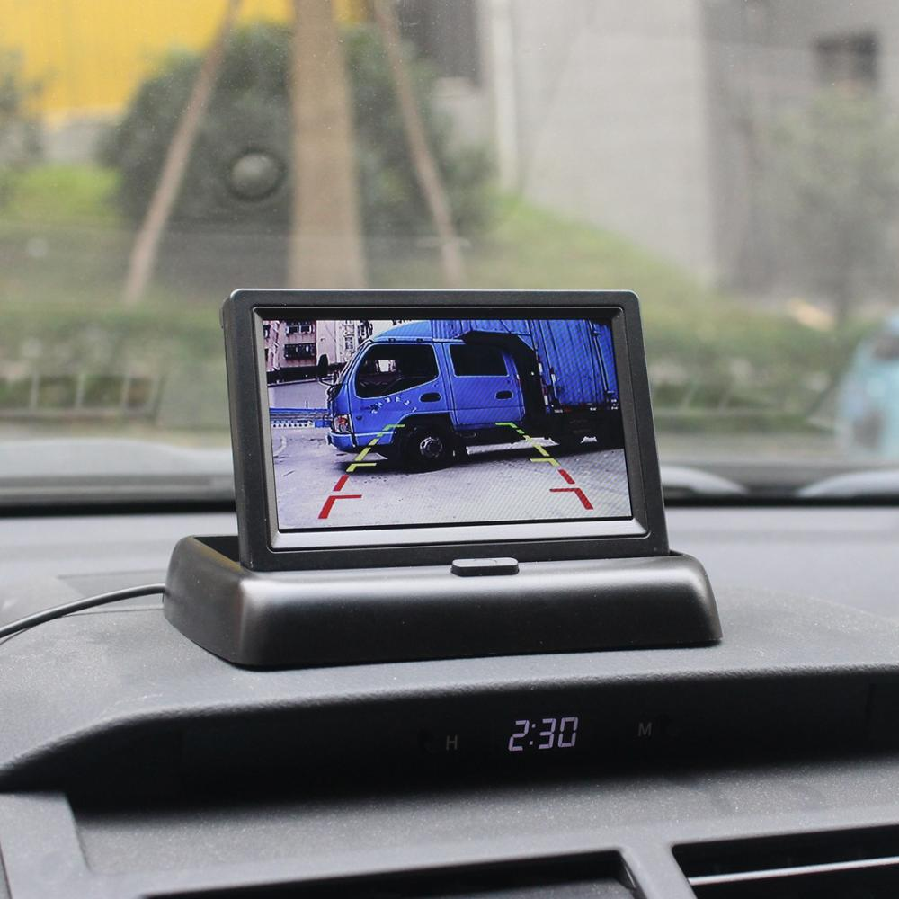 Wireless 4.3 Inch Foldable Rear View Monitor Car Monitor Reversing Camera Car Camera Kit Back Up Parking Accessories