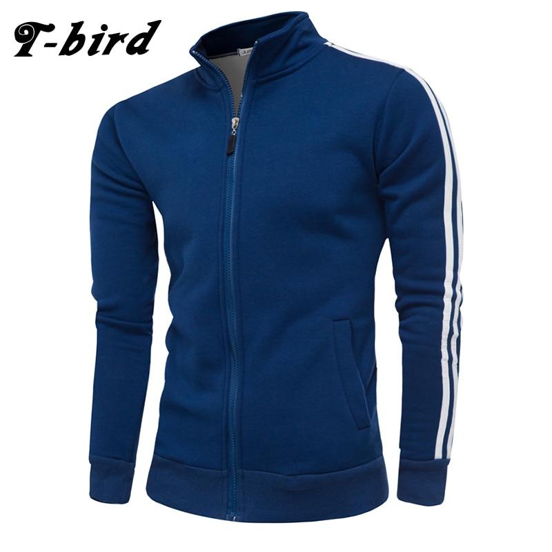 T-bird 2018 New Zipper Cardigan Sweatshirt Men Hoodies Stripe Decoration Autumn Winter Brand Casual Jacket Moletom Masculino 4XL