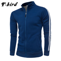 T bird 2018 New Zipper Cardigan Sweatshirt Men Hoodies Stripe Decoration Autumn Winter Brand Casual Jacket Moletom Masculino 4XL