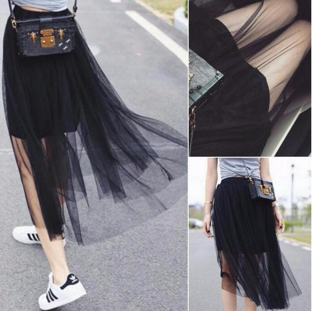 d7464942c0 Summer Style Sheer Tulle Skirts Cheap A Line Tea Length Sexy Women See  Through Skirts custom fashion style