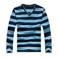 De manga larga Camiseta hombres de Rayas gruesas camisas de la manera