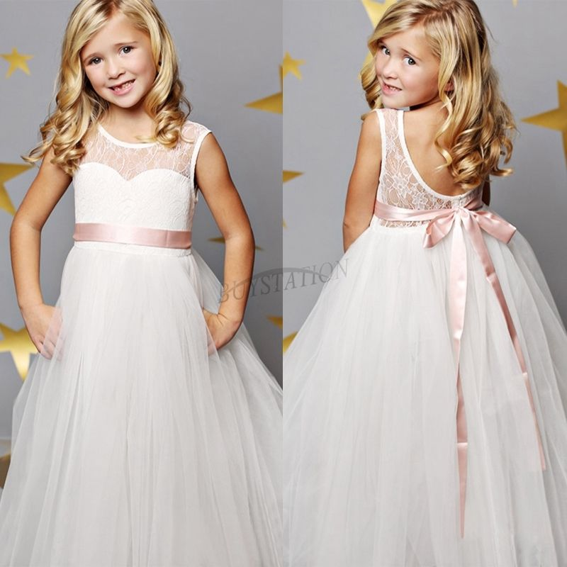 2017 Sleeveless Mother Daughter Dresses for Girl A-Line Kids Beauty Pageant Dresses Ankle-Length Flower Girl Dresses With Sashes ankle length flower girl dresses a line girl birthday party princess dresses children girl dresses sleeveless primera comunion