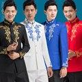 O envio gratuito de 2016 novos dos homens do estilo Chinês gola vestido túnica show nacional terno traje cantor anfitrião Coro ternos de casamento