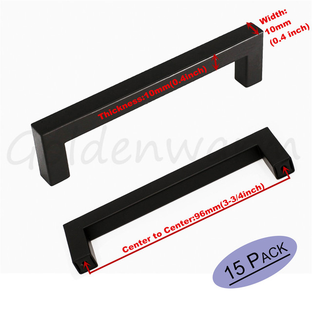 Charming Black Kitchen Cabinet Handles 3 3/4 Inch Hole Centers Stainless Steel  10mm*10mm