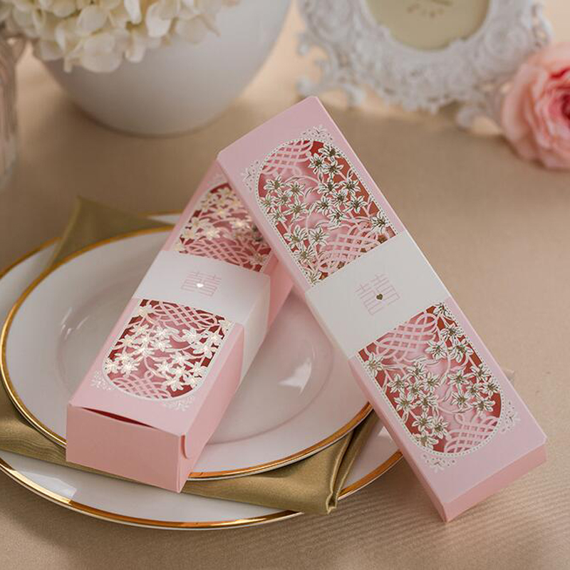 50pcs Pink Scroll Laser Cut Box Packed Wedding Invitation Cards With Butterfly Knot Customizable Wedding Decoration