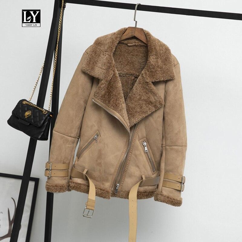 Ly Varey Lin Женская замшевая куртка пальто из искусственной овечьей шерсти с меховым воротником кожаная куртка теплая зимняя женская черная Повседневная толстая верхняя одежда