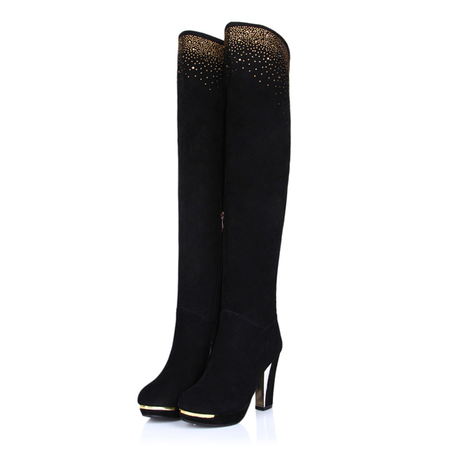 ФОТО Free shipping High Quality 2017 Genuine Leather over the knee high boots Rhinestone snow boots high leg riding boots for women