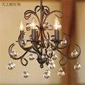 Европейский стиль ретро хрустальная люстра черное железо искусство простая гостиная спальня столовая подвесное освещение
