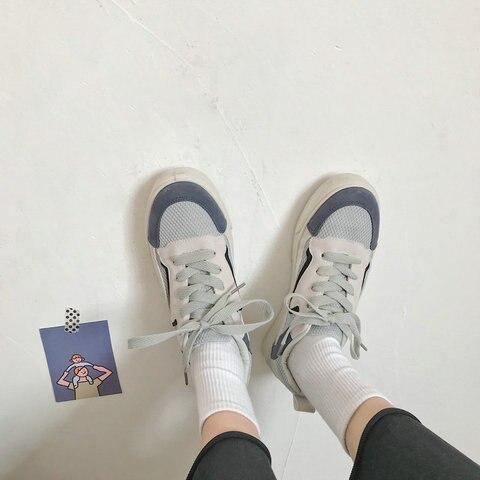 Vulcanizados da Moda Sapatos de Lona Planos de Malha de ar para Mulheres Sapatos Casuais Femininos Primavera Verão Respirável Tênis