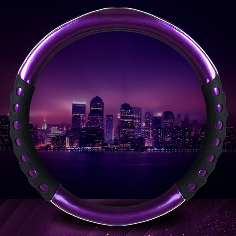 New Fashion Purple PU Leather Car Steering Wheel Cover 3D Design 38CM Fit All Seasons