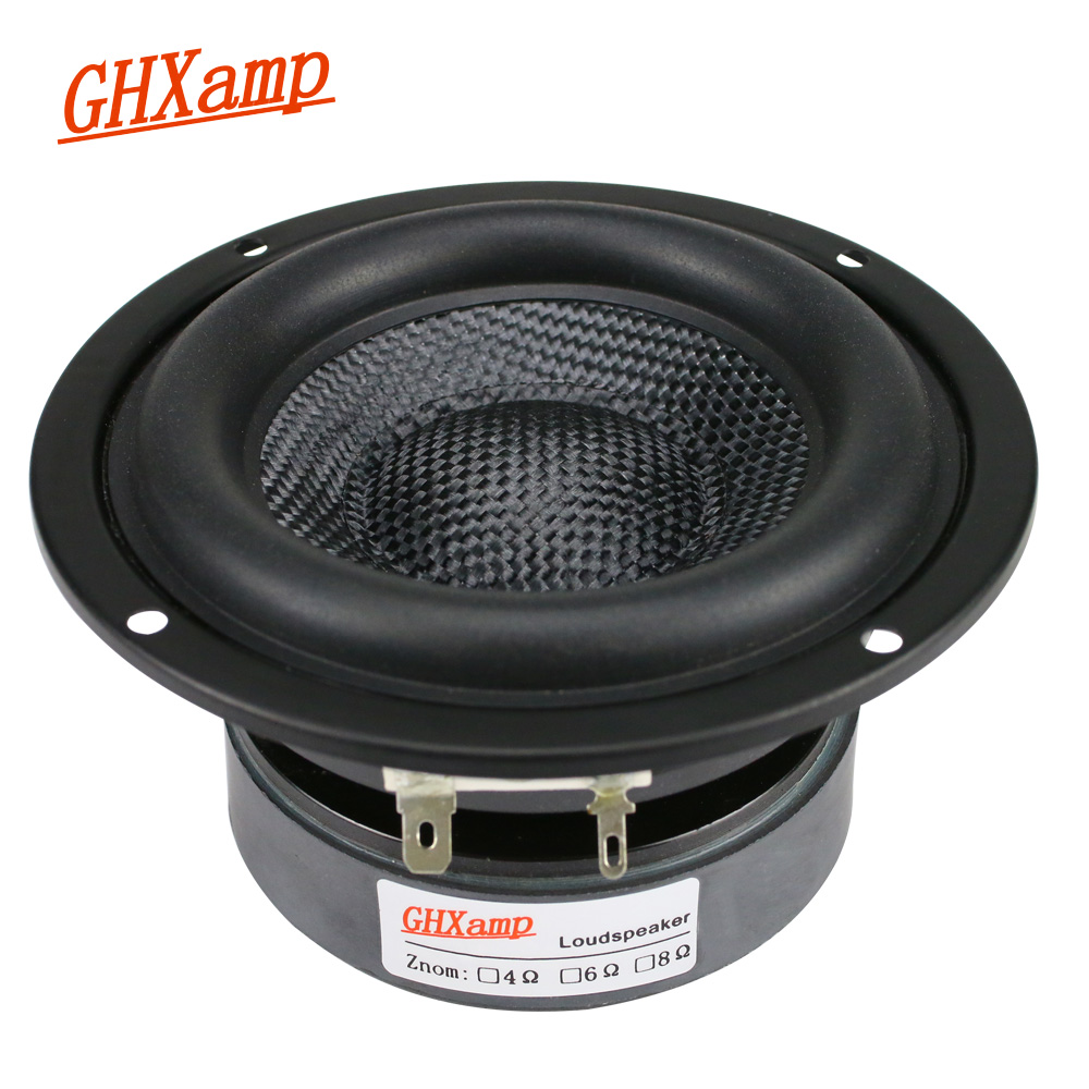 GHXAMP 4 inç Woofer Subwoofer hoparlör ünitesi HIFI 4ohm 40W fiberglas dokuma havzası derin bas Loudspeaekr büyük manyetik 1PC