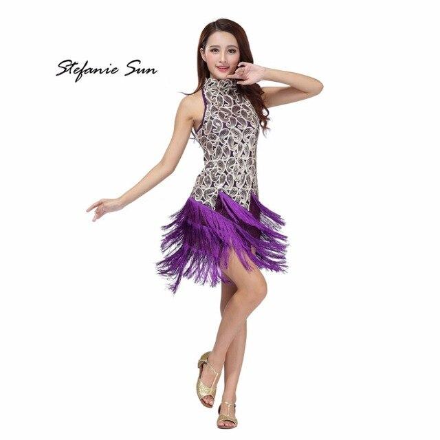 511c3ce0f268c Sequin Latin Tango Samba Ballroom Salsa Dance Dress Fringes Tassels Dresses