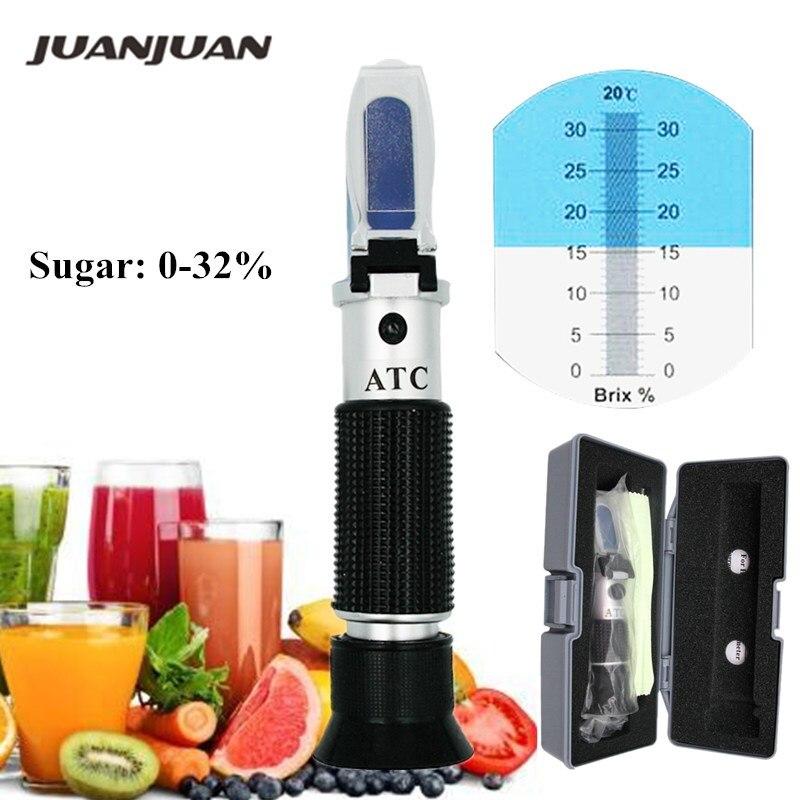 Compteur testeur de réfractomètre Brix avec huile d'étalonnage ATC + sucre: 0-32% outils pour jus de fruits et légumes 49% de réduction