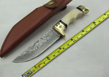 100% New Camel Bone Copper Head Damascus Collect Hunting Knives Small Camping Knife Multi Factional Survival Knife High Quality