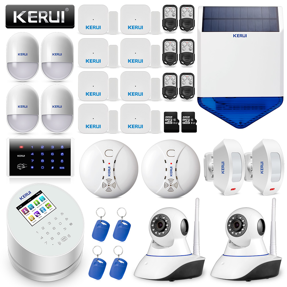 KERUI W2 WIFI GSM PSTN Wireless Home Security Alarm System DIY Kit With Auto Dial+Smoke Alarm+Outdoor Solar Siren+IP Camera цена