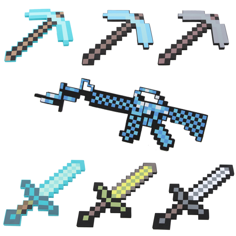 22 styles Minecraft Weapon Simulation Toys Gun Sword Pick Axe Minecraft Game Props Model Gift Funny Toys for Children #E newest how to train your dragon 2 action cosplay weapons fire sword axe buckler toys for children brinquedos kids minecraft toys