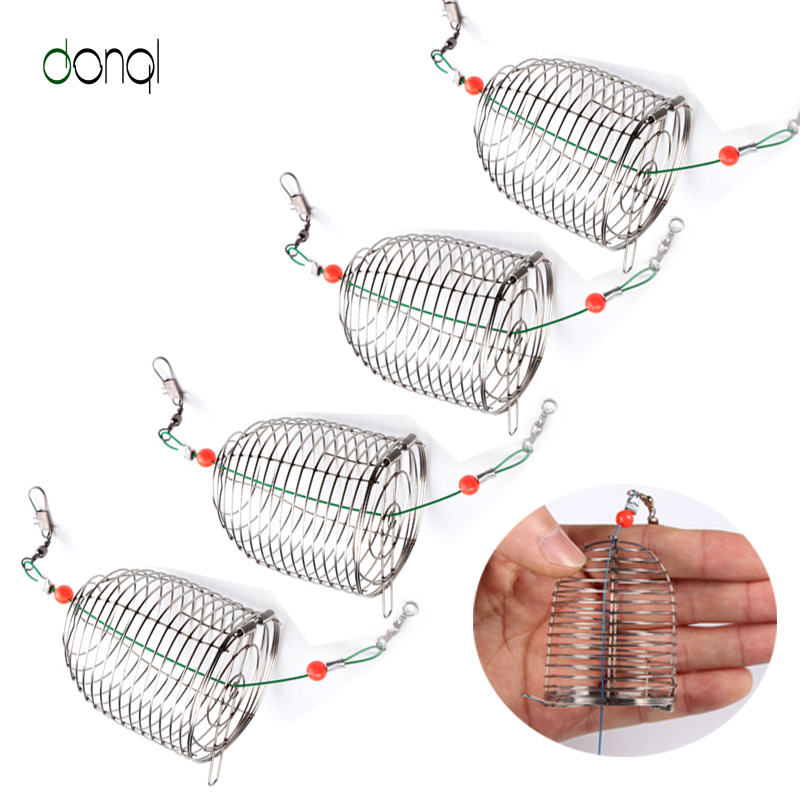 5pcs Stainless Steel Wire Fishing Lure Conical Cage Fish Bait Lure Fishing Accessory Bait Cage Fishing Trap Basket Feeder Holder weight forward hook bait carp fishing tackle feeder bait cage lure pit device with lead pellet fishing lure pellet feeder