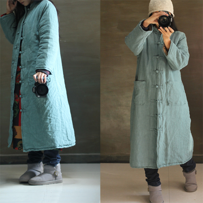 2015 Winter Chinese Style Stand Collar Maxi Parkas Overcoat Vintage Single Breasted Long Warm Thicken Cotton