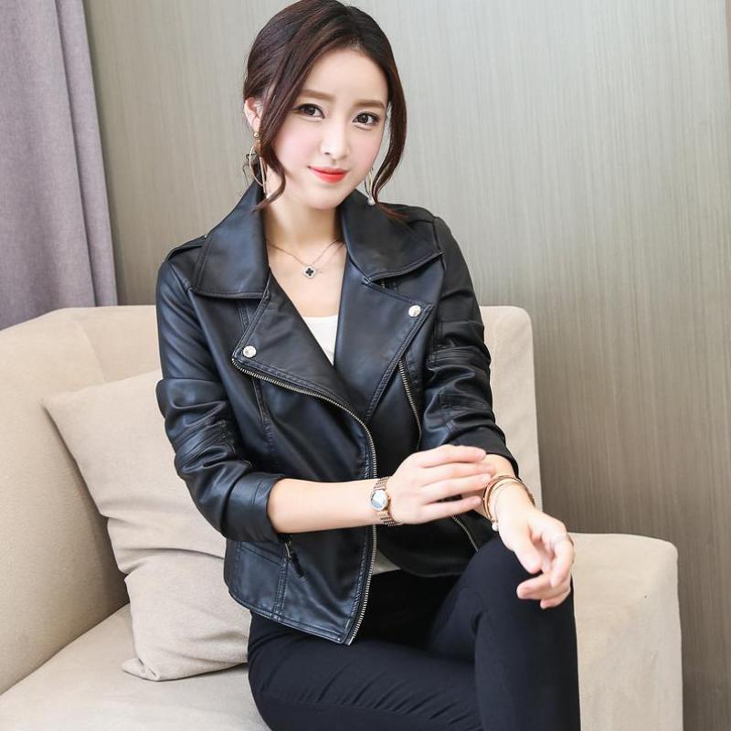 Female Coats 2018 New Spring Women Leather Jacket Red Black PU Plus Size Jackets Motorcycle Leather Jacket Slim Casual Coat XXL