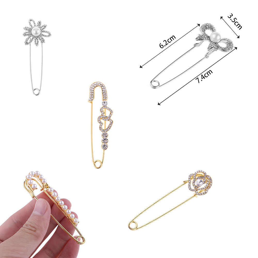 1 Pcs Fashionlarge Tahan Lama Rose Emas Kristal Logam Bros Safety Rhinestone Bros Pin Syal Kerah Sweater Leher Bros Pin