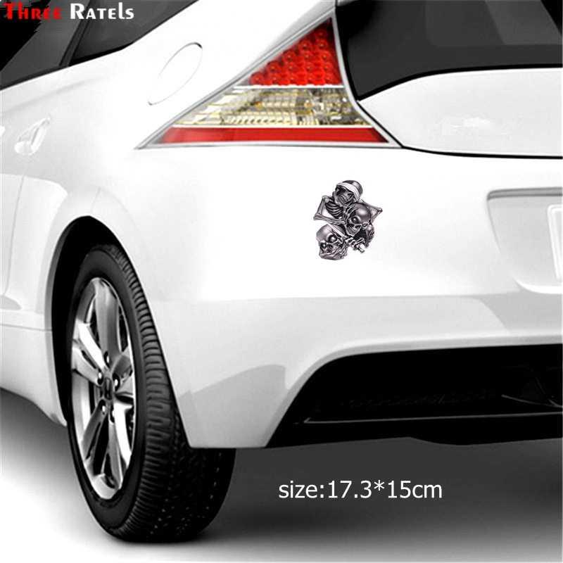 ثلاثة Ratels TZ-1330 #17.3*15 سنتيمتر لا نرى شيئا يسمع شيئا يقول شيئا يسمع يتحدث انظر لا الشر الجمجمة ملصقات السيارات مضحك سيارة ملصقا