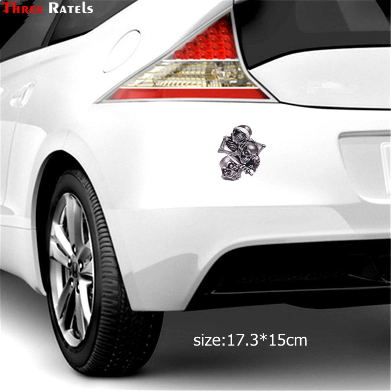 Image 5 - Three Ratels TZ 1330#17.3*15cm see nothing hear nothing say nothing Hear Speak See No Evil Skull car stickers funny car sticker-in Car Stickers from Automobiles & Motorcycles