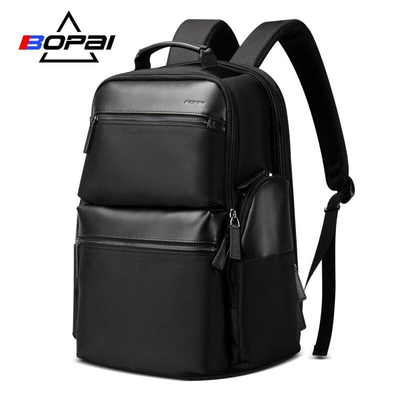 BOPAI Uomo Regalo di Lusso Zaino Impermeabile USB Bagpack Nero In Pelle di Mucca Zaino Del Computer Portatile da 15.6 pollici di Viaggio di Fine Settimana Zaino Uomini