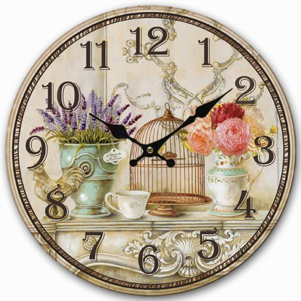 Retro Vintage Style Large Clock Bird Cage Lavender Flower Vase Home Decorative Wall Clock Wood