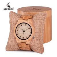 BOBO BIRD B22 Mens Wooden Bamboo Watch Japanese Movement Quartz Watch With Luminous Hands With Full
