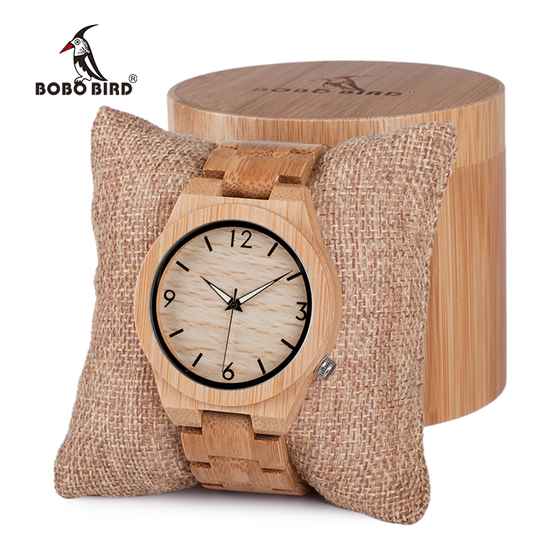 BOBO BIRD Mens Wooden Bamboo Watch Kvarts Menn Klokker Med Lysende Hender Med Full Bamboo Band I Gave Box Timepieces