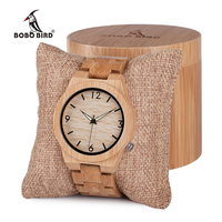 BOBO BIRD Mens Wooden Bamboo Watch Quartz Men Watches with Luminous Hands with Full Bamboo Band in Gift Box Timepieces
