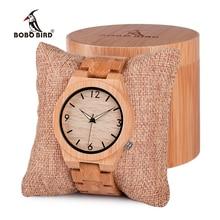 BOBO BIRDนาฬิกาผู้ชายไม้ไม้ไผ่ควอตซ์ผู้ชายนาฬิกาส่องสว่างเต็มรูปแบบไม้ไผ่แถบของขวัญกล่องนาฬิกา