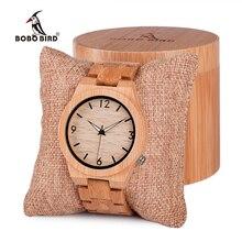 BOBO VOGEL Männer Uhr Holz Bambus Quarz Männer Uhren mit Leucht Hände mit Voller Bambus Band in Geschenk Box Uhren