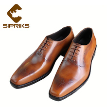 Sipriks luxury patina leather shoes mens goodyear welted dress shoes elegant brown oxfords leather sole formal suits shoes boss