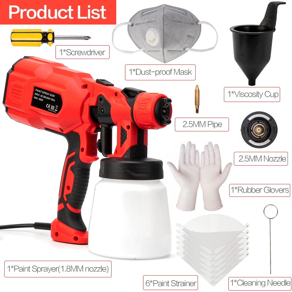 Image 5 - 550W 220V 800ML Spray Gun Paint 1.8/2.5MM Nozzle High Power Spay Guns Home Electric Paint Sprayer Easy Spraying Cleanning-in Spray Guns from Tools on