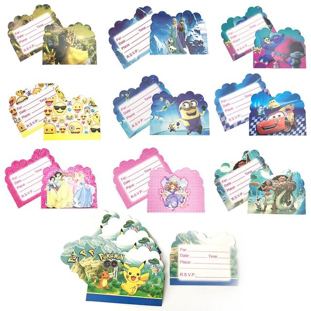 10pcs Pokemon Theme Party Paper Invitation Card Birthday Party