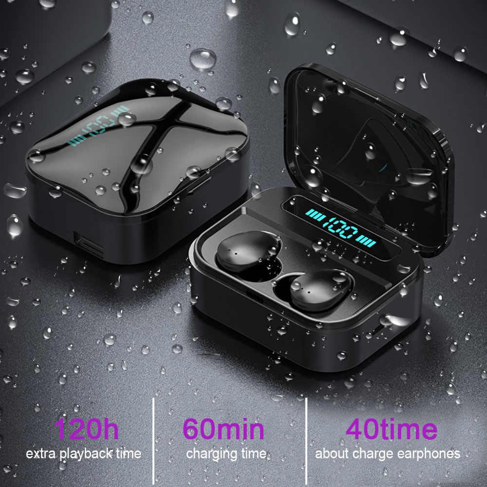 Qcr Tws Bluetooth Earphone 6D Stereo Nirkabel Earbus Gaming Headset dengan Mikrofon 2200 MAh Power Bank IPX7 Wireless Earphone
