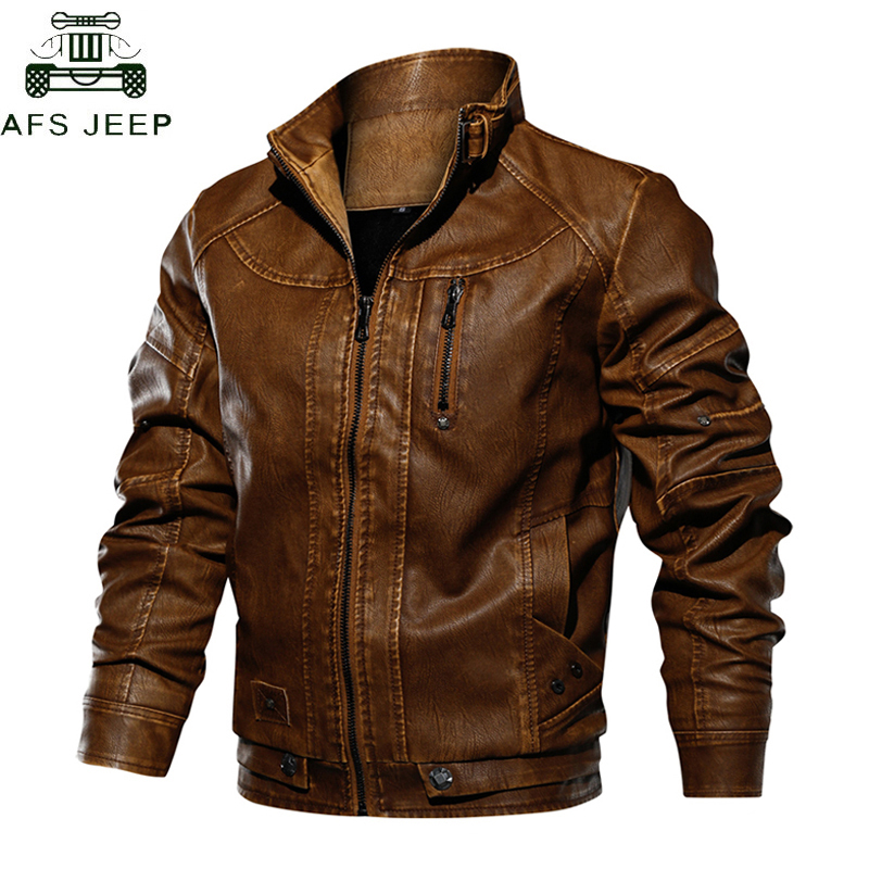 AFSJEEP Tactical PU Leather Jacket Men Euro Size S-XXL Stand Collar Motorcycle Leather Jacket Male Jaqueta De Couro Dropshipping