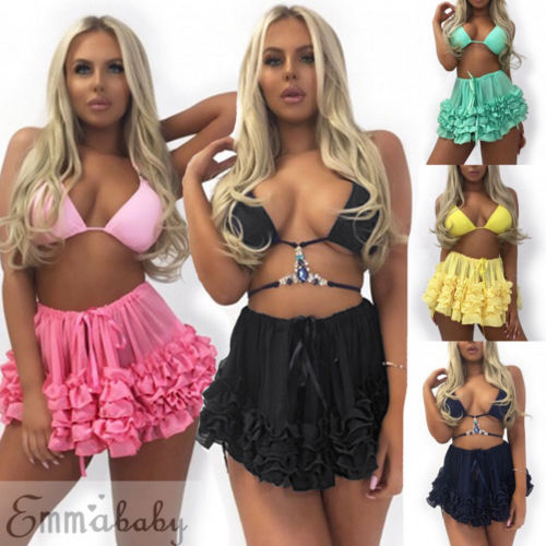 33ca65614b1 UK Women Sexy Crochet Mesh Lace Swimwear Summer Beach Dress Sheer Bikini  Cover Up Hot