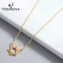 Todorova Rose Gold Hollow Flower Pendant Necklace Geometric Round Circle Necklaces for Women Gift New Fashion Jewelry