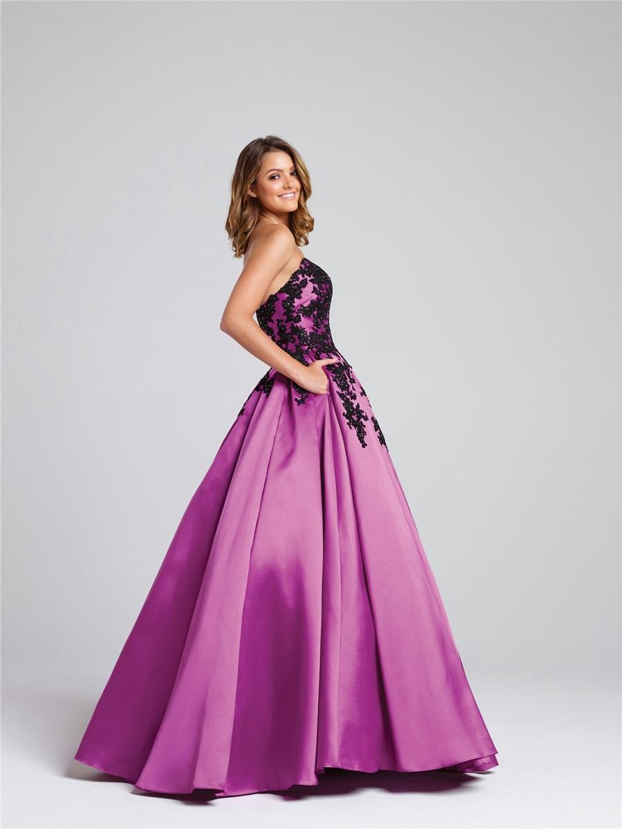 Vestido de gala sin tirantes sin tirantes contrastantes rosa/negro ...