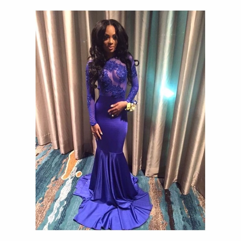 factory price detailed images sale online Sexy Appliques Lace Royal Blue Long Sleeve Black Girl Prom ...