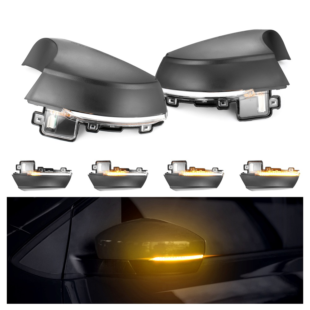 2pcs Dynamic Turn Signal LED Side Rearview Mirror Indicator Blinker Repeater Light For Volkswagen VW Polo