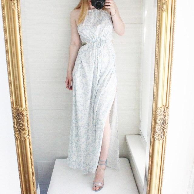 Sexy Drucken Sleeveless Langes Kleid Blau Rosa Seite Split Backless ...