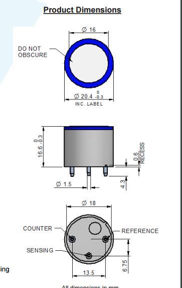 4H Hydrogen Sulfide Sensor Part Number AC200 800
