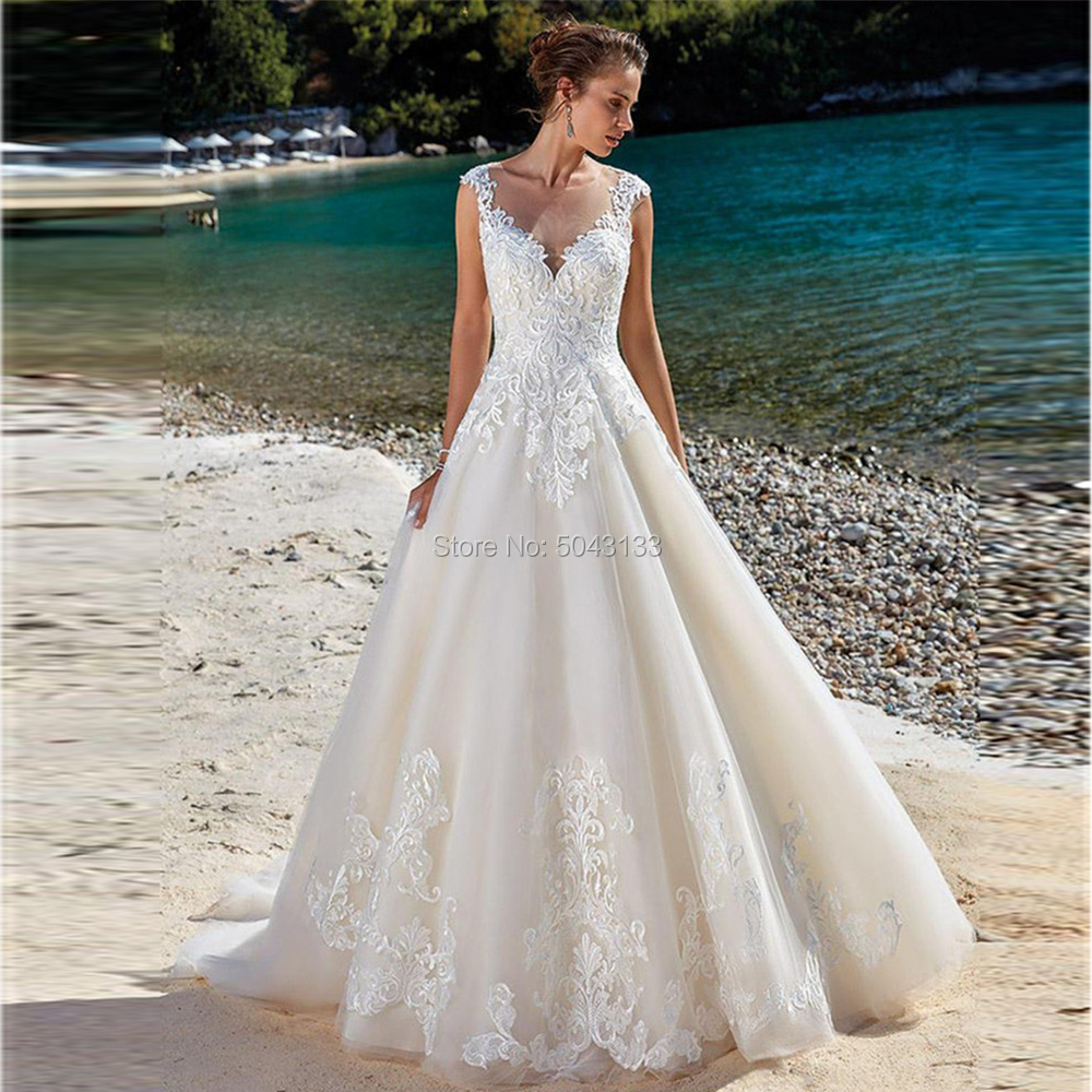 Elegant Tulle O-Neck A Line Wedding Dresses Vintage Lace Appliques Formal Wedding Bridal Gowns White Ivory Vestido De Festa
