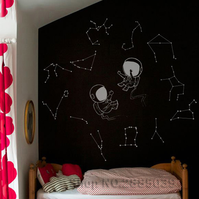 Two Astronauts With Constellations Wall Decals Stars Decal Kids Nursery Diy Stickers Constellation Murals Home