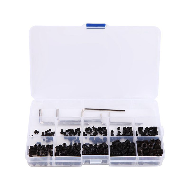 300pcs M3 M4 M5 M6 M8 Hex Head Socket Hex Grub Screw Set Assortment Kit 12.9 Class Black Alloy Steel