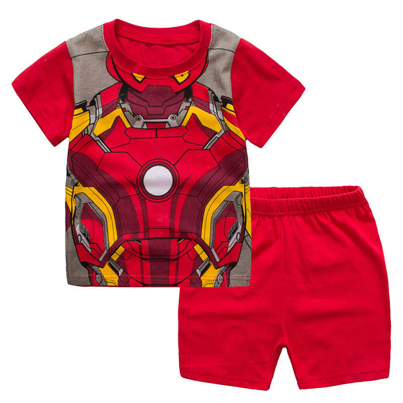 985da5fdb Detail Feedback Questions about 2PCS Summer Baby Boys Iron Man Clothes Set  Kids Cartoon Short sleeved Top+Shorts Sets Children Superhero Suit on ...