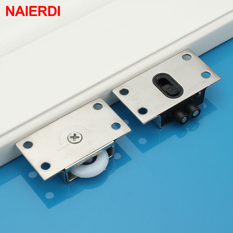 NAIERDI Door Rollers Stainless Steel Sliding Door Wheel Cabinet Nylon Pulley Hanging Wheel For Wardrobe Furniture Hardware